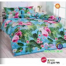 ชุดเครื่องนอนลายดอกไม้ชมพู พื้นสีฟ้า TOTO ผ้าปูที่นอน ผ้านวมโตโต้ TT639
