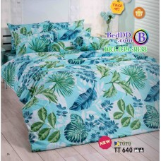 ชุดเครื่องนอนลายใบไม้ พื้นสีเขียว TOTO ผ้าปูที่นอน ผ้านวมโตโต้ TT640