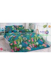 ชุดเครื่องนอนลายดอกไม้ พื้นสีฟ้า TOTO ผ้าปูที่นอน ผ้านวมโตโต้ TT641