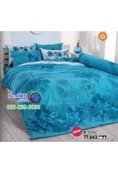 ชุดเครื่องนอนลายกราฟฟิคดอกไม้ โทนสีฟ้า TOTO ผ้าปูที่นอน ผ้านวมโตโต้ TT643