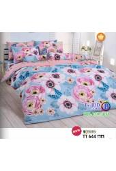 ชุดเครื่องนอนลายดอกไม้สีชมพู พื้นสีฟ้า TOTO ผ้าปูที่นอน ผ้านวมโตโต้ TT644