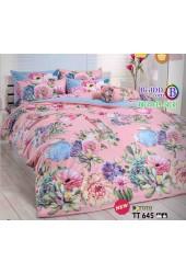 ชุดเครื่องนอนลายดอกไม้หลากสี พื้นสีชมพู TOTO ผ้าปูที่นอน ผ้านวมโตโต้ TT645
