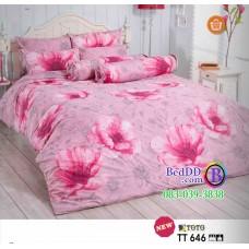 ชุดเครื่องนอนลายดอกไม้ พื้นสีชมพู TOTO ผ้าปูที่นอน ผ้านวมโตโต้ TT646
