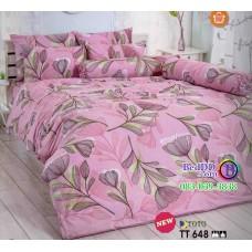 ชุดเครื่องนอนลายดอกไม้ พื้นสีชมพู TOTO ผ้าปูที่นอน ผ้านวมโตโต้ TT648