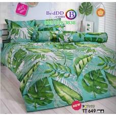 ชุดเครื่องนอนลายกราฟฟิคใบไม้ พื้นสีเขียว TOTO ผ้าปูที่นอน ผ้านวมโตโต้ TT649