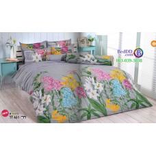 ชุดเครื่องนอนลายกราฟฟิคดอกไม้ พื้นสีเทา TOTO ผ้าปูที่นอน ผ้านวมโตโต้ TT651