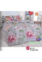 ชุดเครื่องนอนลายดอกไม้ พื้นสีเทา TOTO ผ้าปูที่นอน ผ้านวมโตโต้ TT653