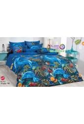 ชุดเครื่องนอนลายท้องทะเลลึก ปะการัง ปลาทะเล พื้นสีน้ำเงิน TOTO ผ้าปูที่นอน ผ้านวมโตโต้ TT655