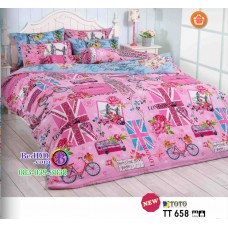 ชุดเครื่องนอนลายบ้านเมืองต่างประเทศ พื้นสีชมพู TOTO ผ้าปูที่นอน ผ้านวมโตโต้ TT658