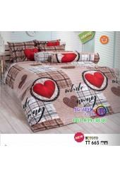ชุดเครื่องนอนลายหัวใจสีแดง โทนสีน้ำตาล TOTO ผ้าปูที่นอน ผ้านวมโตโต้ TT665