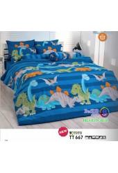 ชุดเครื่องนอนลายสวนสัตว์ไดโนเสาร์ โทนสีน้ำเงิน TOTO ผ้าปูที่นอน ผ้านวมโตโต้ TT667