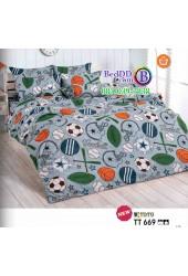 ชุดเครื่องนอนลายลูกบอล โทนสีเทา TOTO ผ้าปูที่นอน ผ้านวมโตโต้ TT669