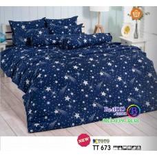 ชุดเครื่องนอนลายดาวตก พื้นสีน้ำเงิน TOTO ผ้าปูที่นอน ผ้านวมโตโต้ TT673