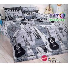 ชุดเครื่องนอนลายกีตาร์ พื้นดำ ขาว เทา TOTO ผ้าปูที่นอน ผ้านวมโตโต้ TT674