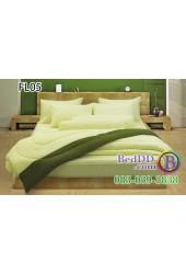 ชุดเครื่องนอนสีพื้น เหลืองอ่อน ขอบเขียวสองสี ทูโทน Fair Lady ผ้าปูที่นอน ผ้านวมแฟร์เลดี้ FL05