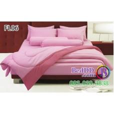 ชุดเครื่องนอนสีพื้น ชมพูอ่อน ขอบเข้ม ทูโทน Fair Lady ผ้าปูที่นอน ผ้านวมแฟร์เลดี้ FL06