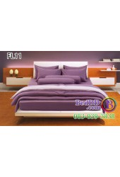 ชุดเครื่องนอนสีพื้น สีม่วงเข้ม สองสีขอบอ่อน ทูโทน Fair Lady ผ้าปูที่นอน ผ้านวมแฟร์เลดี้ FL11