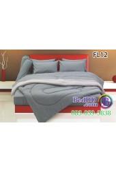 ชุดเครื่องนอนสีพื้น สีเทาเข้ม สองสีขอบอ่อน ทูโทน Fair Lady ผ้าปูที่นอน ผ้านวมแฟร์เลดี้ FL12