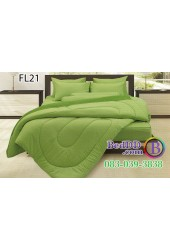 ชุดเครื่องนอนสีพื้น สีเขียวใบตองขอบเข้ม สองสีทูโทน Fair Lady ผ้าปูที่นอน ผ้านวมแฟร์เลดี้ FL21