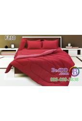 ชุดเครื่องนอนสีพื้น สีแดง ขอบสีอ่อน ทูโทน Fair Lady ผ้าปูที่นอน ผ้านวมแฟร์เลดี้ FL30