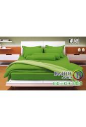 ชุดเครื่องนอนสีพื้น สีเขียวสด ขอบสีอ่อน สองสีทูโทน Fair Lady ผ้าปูที่นอน ผ้านวมแฟร์เลดี้ FL31