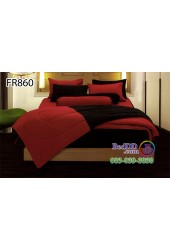 ชุดเครื่องนอนสีพื้น ดำ แดง ทูโทน Fair Lady Refine ผ้าปูที่นอน ผ้านวมแฟร์เลดี้ รีไฟน์ FR860