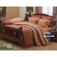 ชุดเครื่องนอนลายกราฟฟิค โทนสีน้ำตาลอ่อน Jessica ผ้าปูที่นอน ผ้านวมเจสสิก้า J224