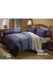 ชุดเครื่องนอนลายกราฟฟิค สีฟ้า ขอบเข้ม Jessica ผ้าปูที่นอน ผ้านวมเจสสิก้า J226