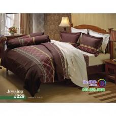 ชุดเครื่องนอนลายกราฟฟิค โทนสีน้ำตาล Jessica ผ้าปูที่นอน ผ้านวมเจสสิก้า J229