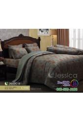 ชุดเครื่องนอนลายจุดสีทองแดง พื้นเทา Jessica ผ้าปูที่นอน ผ้านวม Cotton 100% เจสสิก้า C998