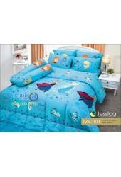 ชุดเครื่องนอนลายโฟรเซ่น Frozen Elsa สีฟ้า Jessica ผ้าปูที่นอน ผ้านวม Cotton 100% เจสสิก้า FZC001