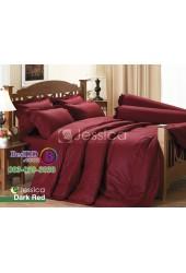ชุดเครื่องนอนสีพื้นแดงเข้ม แดงเลือดหมู Jessica ผ้าปูที่นอน ผ้านวมเจสสิก้า J-DARKRED