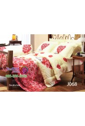 ชุดเครื่องนอนลายดอกกุหลาย พื้นครีม Jessica ผ้าปูที่นอน ผ้านวมสำหรับคู่แต่งงานเจสสิก้า J068