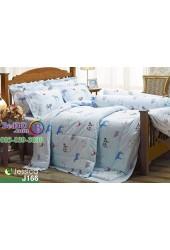 ชุดเครื่องนอนลายการ์ตูนรูปสัตว์ พื้นสีฟ้า Jessica ผ้าปูที่นอน ผ้านวมเจสสิก้า J166