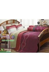 ชุดเครื่องนอนลายกราฟฟิค โทนสีแดงขอบทอง Jessica ผ้าปูที่นอน ผ้านวมเจสสิก้า J169