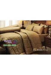 ชุดเครื่องนอนสีพื้นลายทาง ริ้วน้ำตาล Stripe Brown Jessica ผ้าปูที่นอน ผ้านวม Cotton 100% เจสสิก้า JCS-BROW