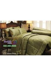 ชุดเครื่องนอนสีพื้นลายทาง ริ้วเทาเขียว Stripe Stone Gray Jessica ผ้าปูที่นอน ผ้านวม Cotton 100% เจสสิก้า JCS-STONE