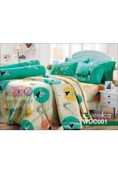 ชุดเครื่องนอนลายทิงเกอร์เบลล์ TinKer Bell สีขาวเขียว Jessica ผ้าปูที่นอน ผ้านวม Cotton 100% เจสสิก้า WDC001
