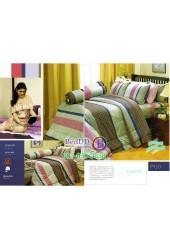 ชุดเครื่องนอนพิมพ์ลายโทนเขียวน้ำตาล Premier Satin ผ้าปูที่นอน ผ้านวมพรีเมียร์ ซาติน P120
