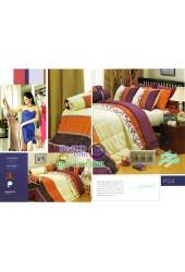 ชุดเครื่องนอนพิมพ์ลายพื้นส้มเหลือง Premier Satin ผ้าปูที่นอน ผ้านวมพรีเมียร์ ซาติน P124