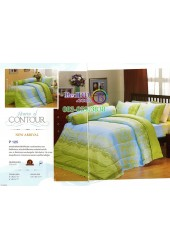 ชุดเครื่องนอนพิมพ์ลายพื้นเขียวฟ้า Premier Satin ผ้าปูที่นอน ผ้านวมพรีเมียร์ ซาติน P125