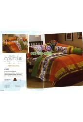 ชุดเครื่องนอนพิมพ์ลายพื้นส้มเขียว Premier Satin ผ้าปูที่นอน ผ้านวมพรีเมียร์ ซาติน P127