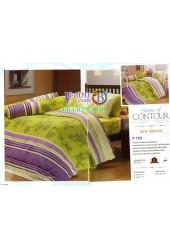 ชุดเครื่องนอนพิมพ์ลายพื้นเขียวขอบม่วง Premier Satin ผ้าปูที่นอน ผ้านวมพรีเมียร์ ซาติน P129