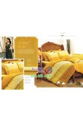 ชุดเครื่องนอนพิมพ์ลายสีน้ำตาลอมส้ม Premier Satin ผ้าปูที่นอน ผ้านวม Cotton 100% พรีเมียร์ ซาติน PC017