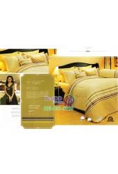 ชุดเครื่องนอนพิมพ์ลายสีน้ำตาลเหลือง Premier Satin ผ้าปูที่นอน ผ้านวม Cotton 100% พรีเมียร์ ซาติน PC023