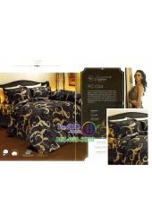 ชุดเครื่องนอนพิมพ์ลายสีดำทอง Premier Satin ผ้าปูที่นอน ผ้านวม Cotton 100% พรีเมียร์ ซาติน PC024