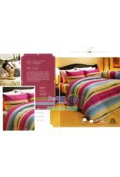 ชุดเครื่องนอนพิมพ์ลายสีชมพูเทาทอง Premier Satin ผ้าปูที่นอน ผ้านวม Cotton 100% พรีเมียร์ ซาติน PC025