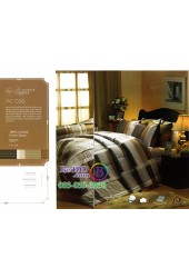 ชุดเครื่องนอนพิมพ์ลายสีน้ำตาลเทา Premier Satin ผ้าปูที่นอน ผ้านวม Cotton 100% พรีเมียร์ ซาติน PC026