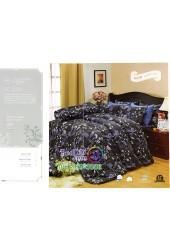 ชุดเครื่องนอนพิมพ์ลายดอกโทนสีดำม่วง Premier Satin ผ้าปูที่นอน ผ้านวม Cotton 100% พรีเมียร์ ซาติน PC034