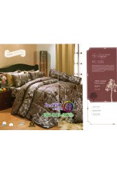 ชุดเครื่องนอนพิมพ์ลายดอกโทนสีนำ้ตาล Premier Satin ผ้าปูที่นอน ผ้านวม Cotton 100% พรีเมียร์ ซาติน PC035